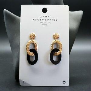 Zara Textured Gold Black Double Link Earrings New